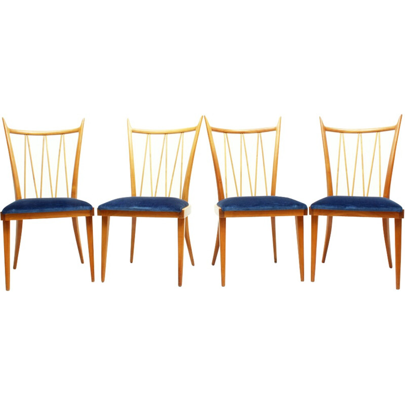 Set Of 4 Cherry Wood Dining Chairs - 1950s