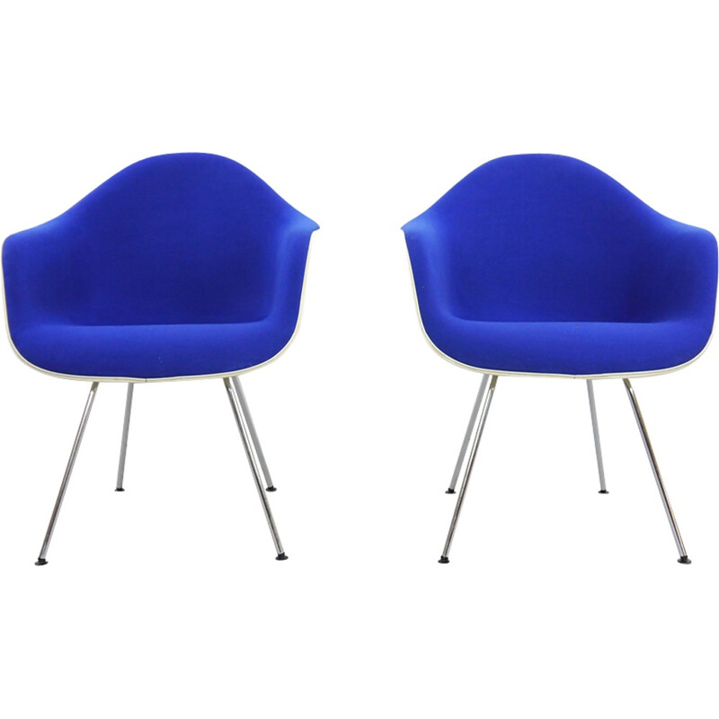 Pair of blue Armchairs DAX by Eames for Herman Miller - 1960s