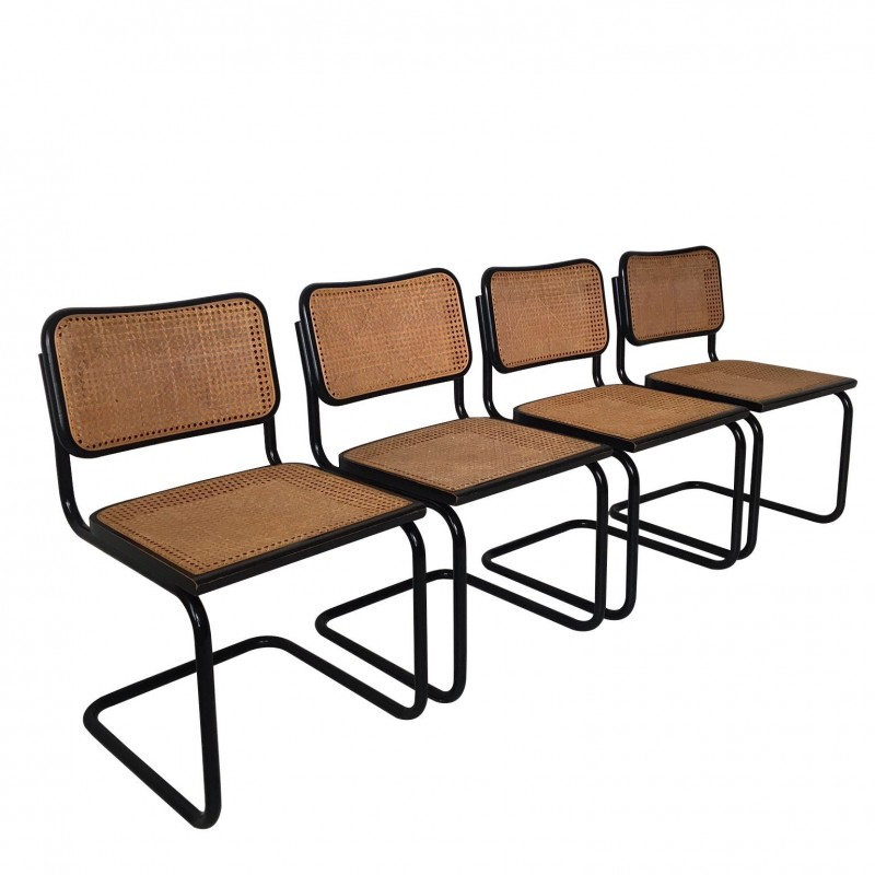 Outstanding Set Of Four Black Italian Dining Chairs Attributed To Marcel Breuer For Cidue 1970S Pdpeps Interior Chair Design Pdpepsorg