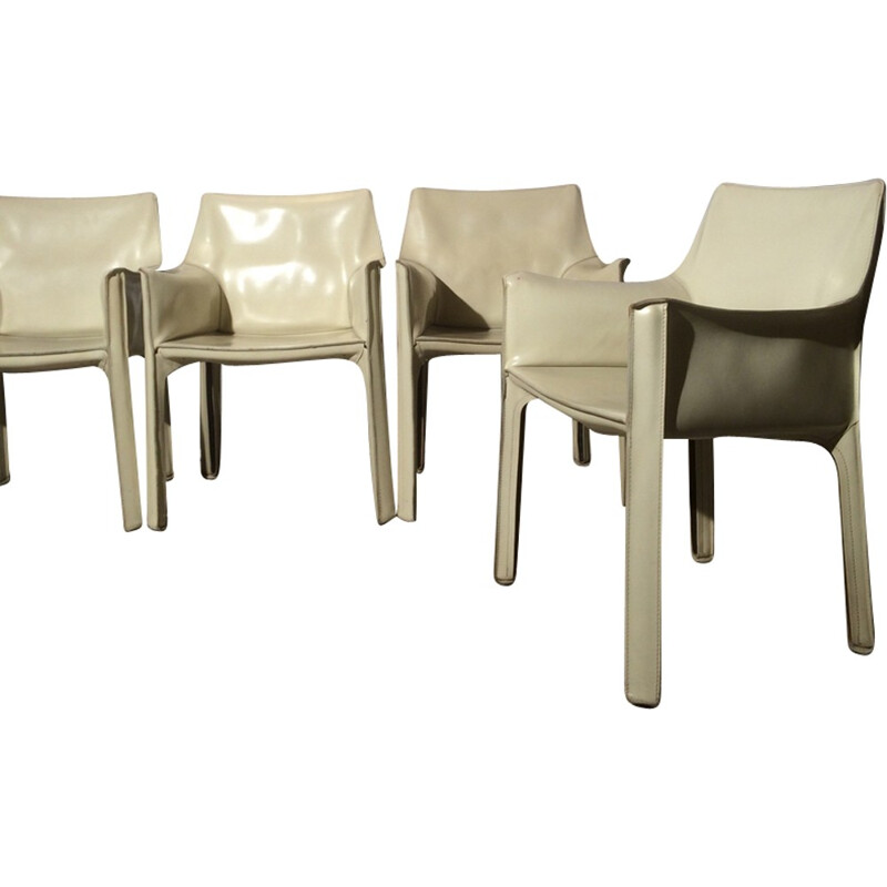 4 armchairs by Mario Bellini Cab 414 White for Cassina - 1970s