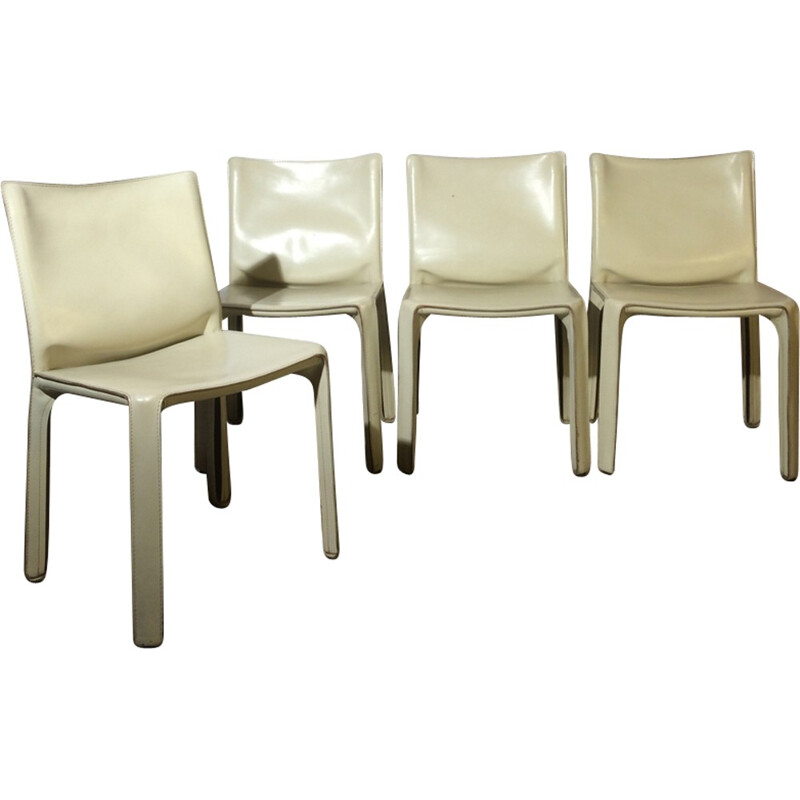 4 chairs by Mario Bellini Cab 412 white for Cassina - 1970s