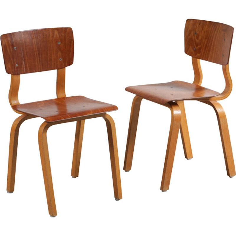 Pair of plywood children chairs - 1950s