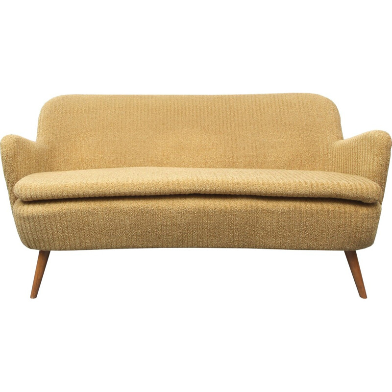Vintage cocktail sofa in yellow - 1950s