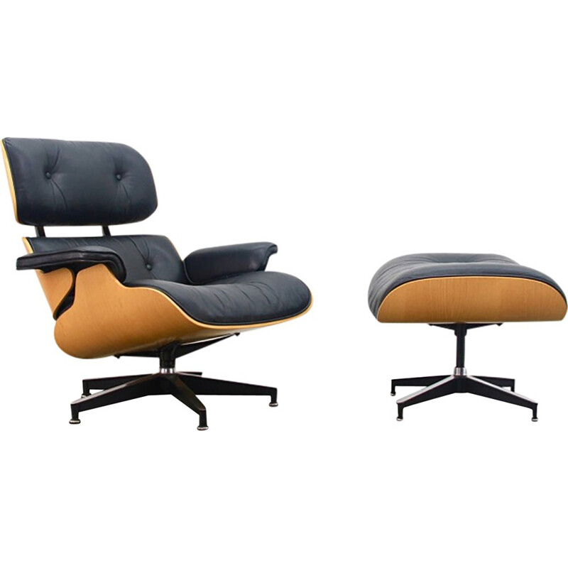 Leather Oak Lounge Chair And Ottoman by Eames - 1970s