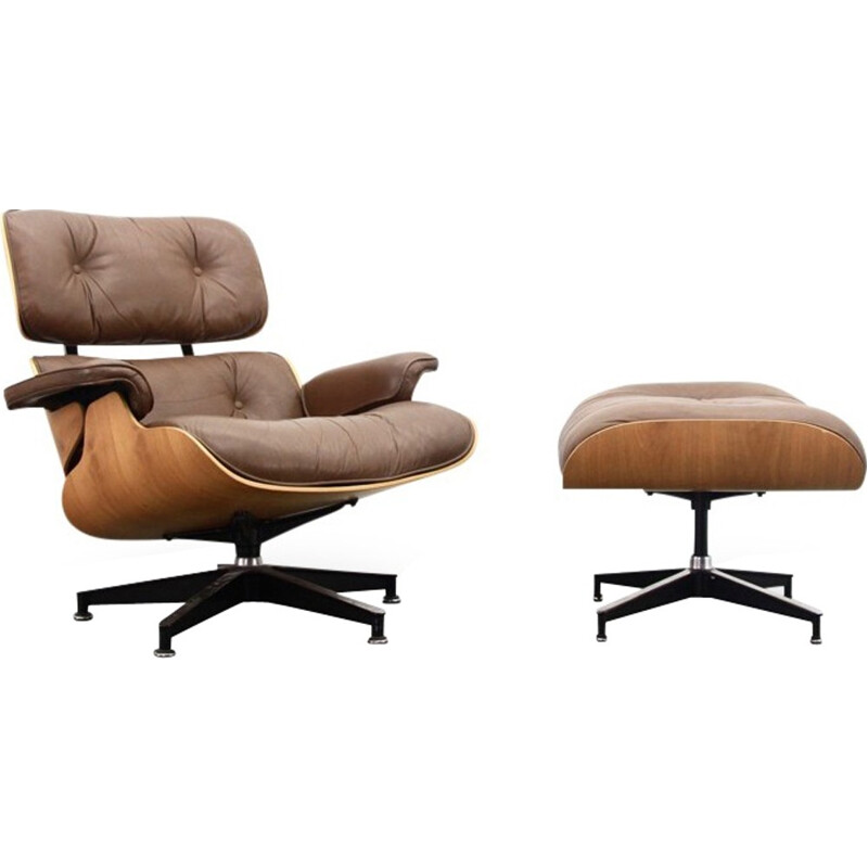 Brown Leather And Walnut Lounge Chair And Ottoman by Eames - 1970s