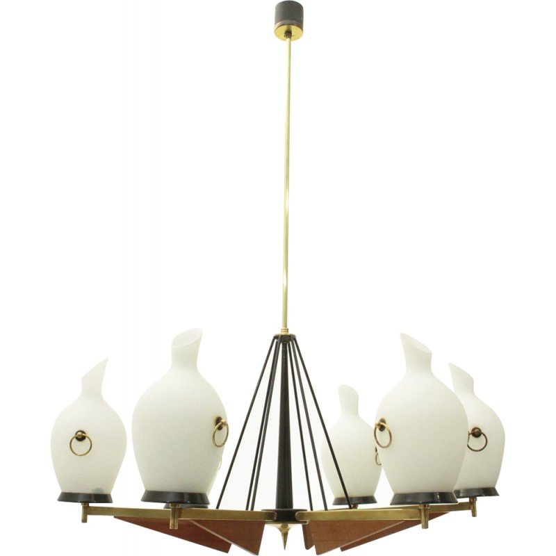 Italian 6 lights in brass and opaline glass chandelier 1950s italian 6 lights in brass and opaline glass chandelier 1950s mozeypictures Images