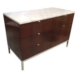 Chest of drawers in rosewood, marble and  chrome, Florence KNOLL - 1970s
