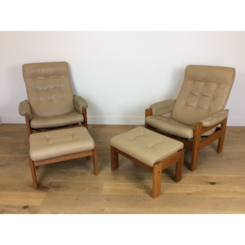 Groovy Pair Of Vintage Reclining Chairs With Footstools By Svend Dyrlund 1960S Short Links Chair Design For Home Short Linksinfo