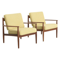 Pair of yellow armchairs in teak and fabric, Grete JALK - 1960s