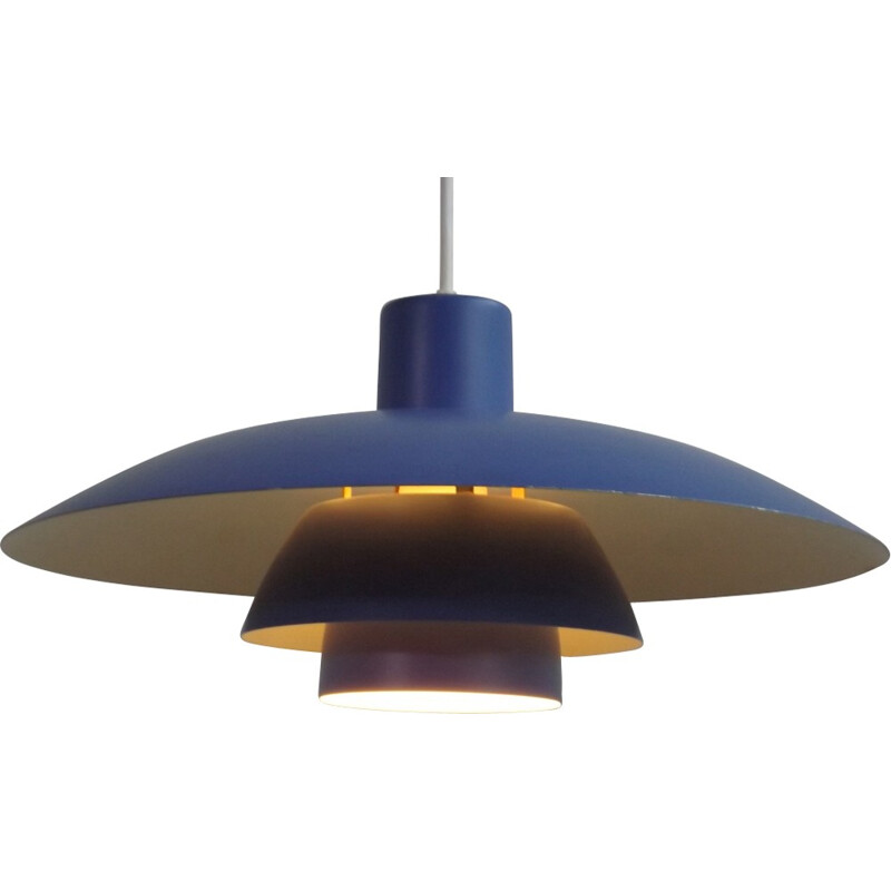 Vintage PH 3-4 pendant lamp in blue aluminum - 1970s
