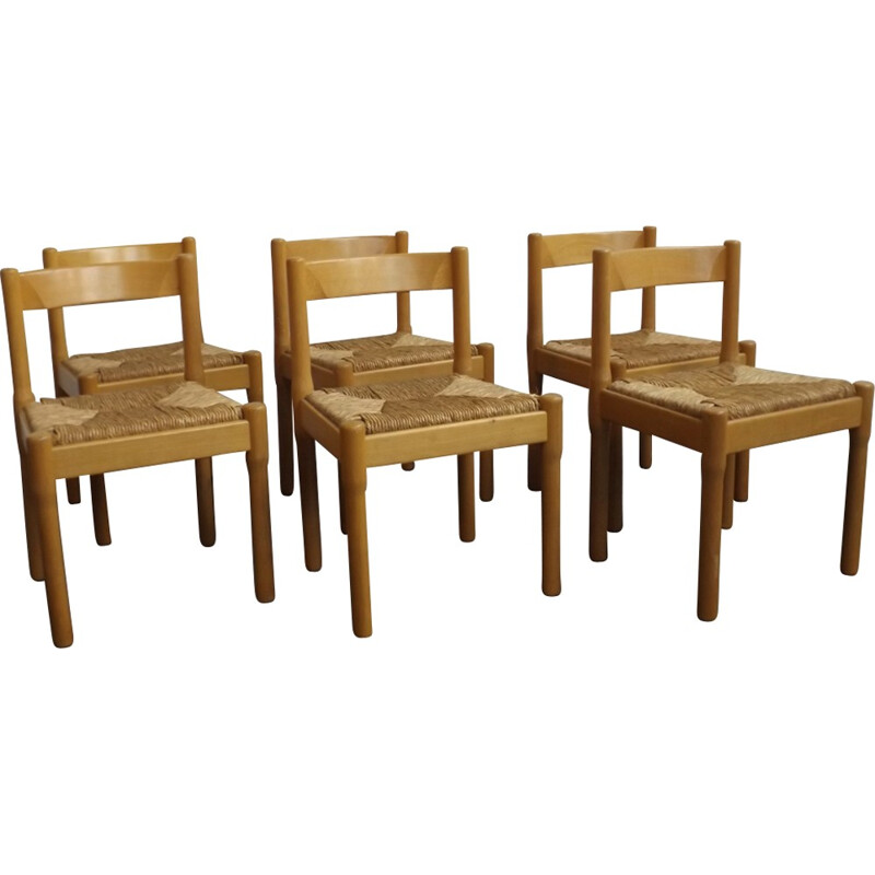 "Set of 6 dining chairs ""Carimate"" by Vico Magistretti for Cassina - 1960s"