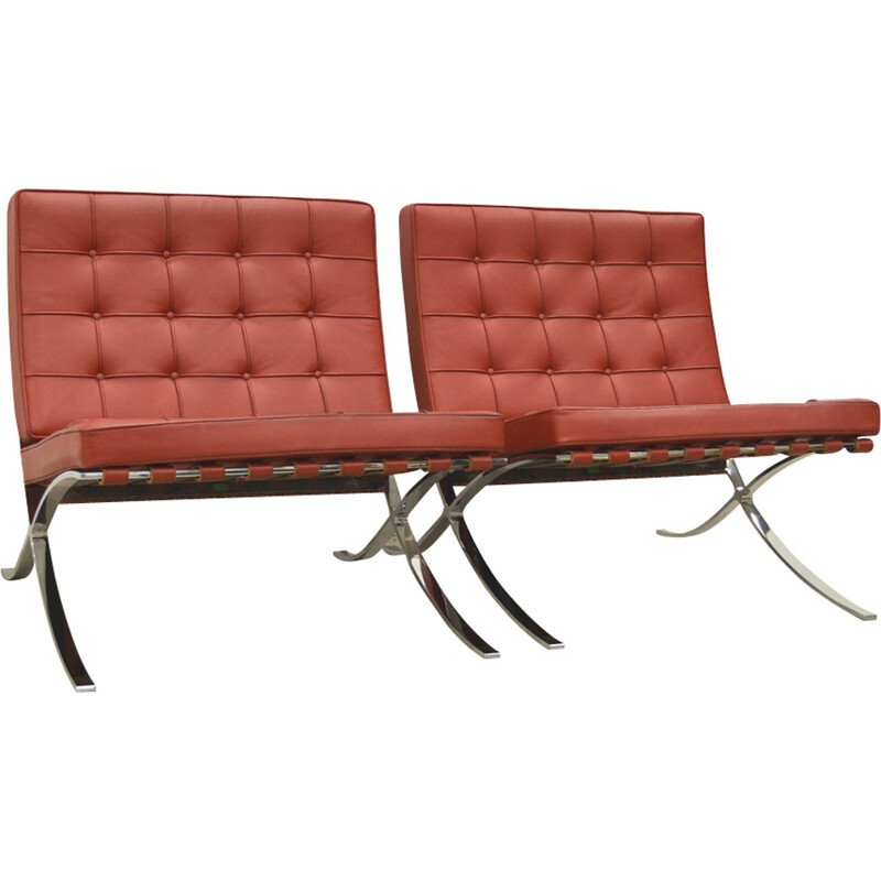 """Pair of """"Barcelona"""" armchairs by Mies van der Rohe for Knoll - 2000s"""