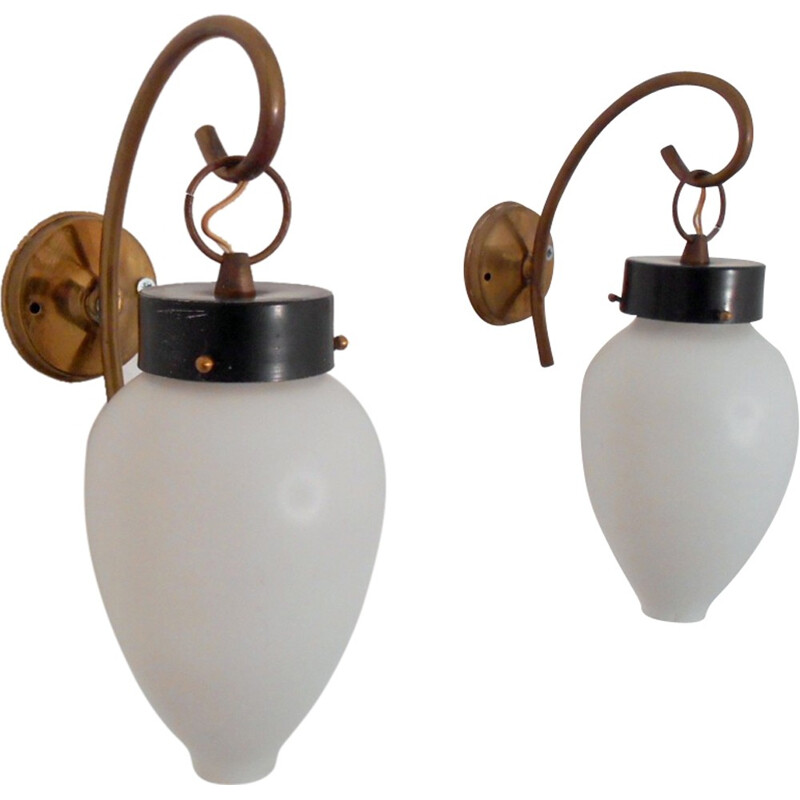 Set of 2 vintage wall lamps by Stilnovo - 1950s