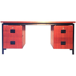 Japanese desk in wood and lacquered metal, Cees BRAAKMAN - 1960s