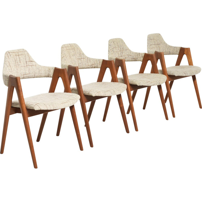 Set of 4 'Compass' chairs made of teak by Kai Kristiansen for SVA Mobler - 1950s