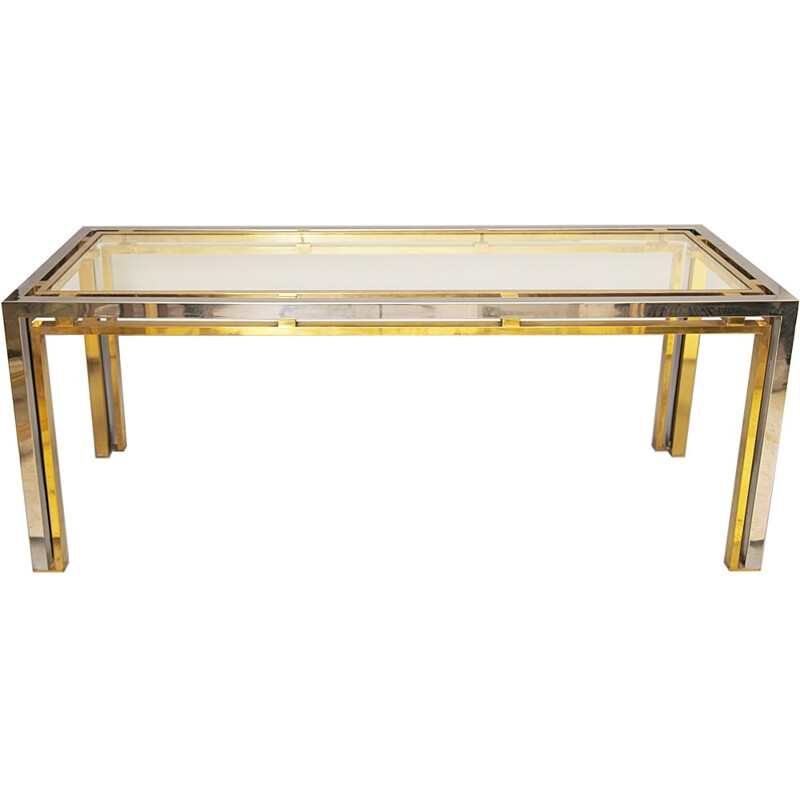 Chrome & Brass Console Table par Romeo Rega - 1970s