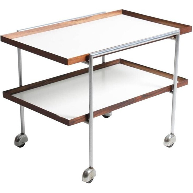 Vintage trolley in metal and rosewood by Poul Nørreklit - 1960s