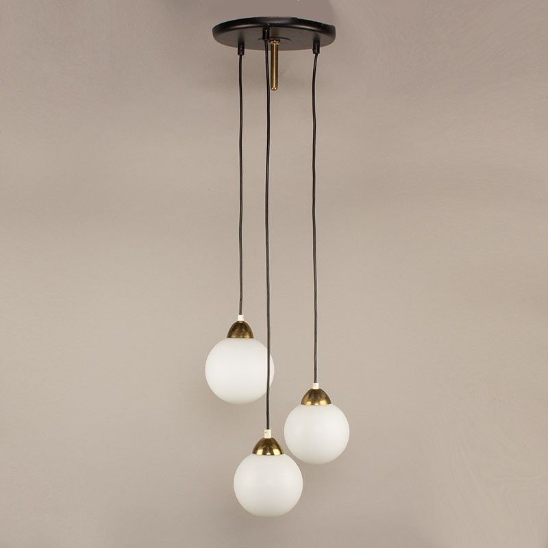 Antique Furniture Antique Globe Opaline White For Suspension Chandelier 20th Century