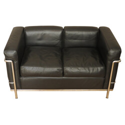 Sofa LC2 in black leather and chromed steel, LE CORBUSIER, PERRIAND et JEANNERET - 2000s