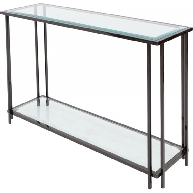 Black Chromed Two Tier Console Table  - 1980s