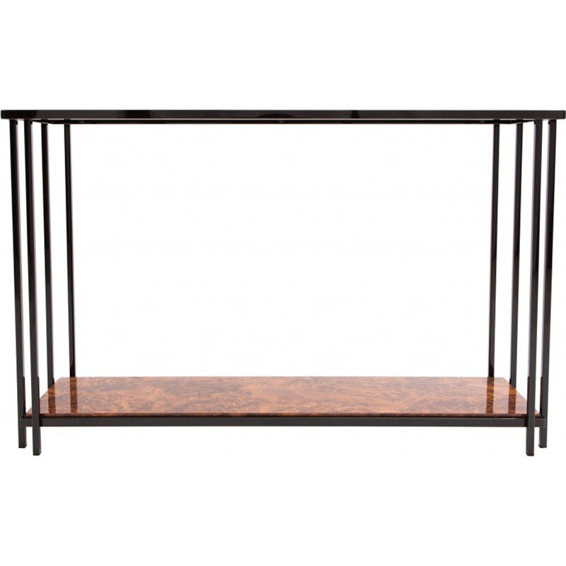 Black Chromed And Burl Console Table - 1980s