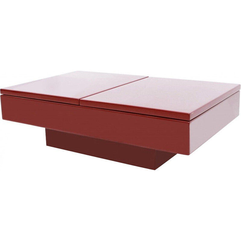 Red lacquered sliding bar coffee table by Jean Claude Mahey - 1980s