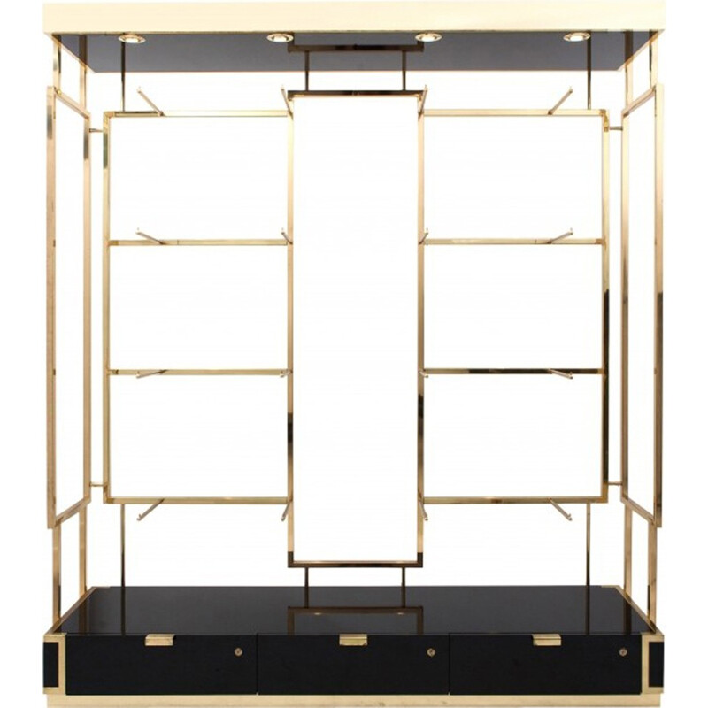 Black lacquer and brass shelves display unit -  1970s