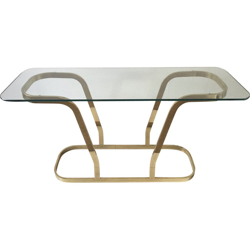Hollywood Regency Brass and Glass Oval Modern Console - 1970s