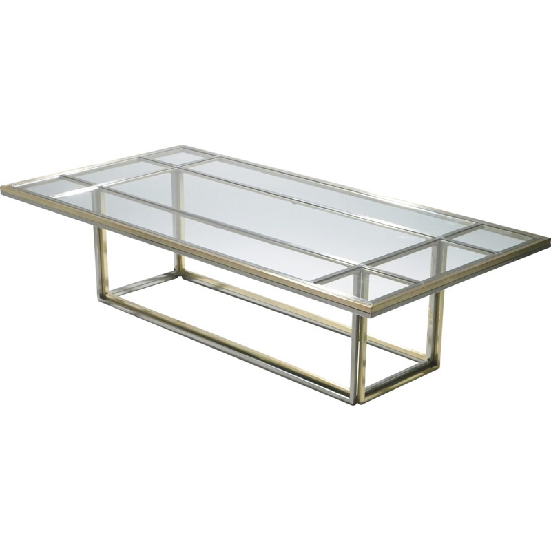 Large chrome and brass coffee table by Romeo Rega for Metalarte - 1970