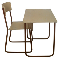 Desk and chair for child in wood and metal - 1950s