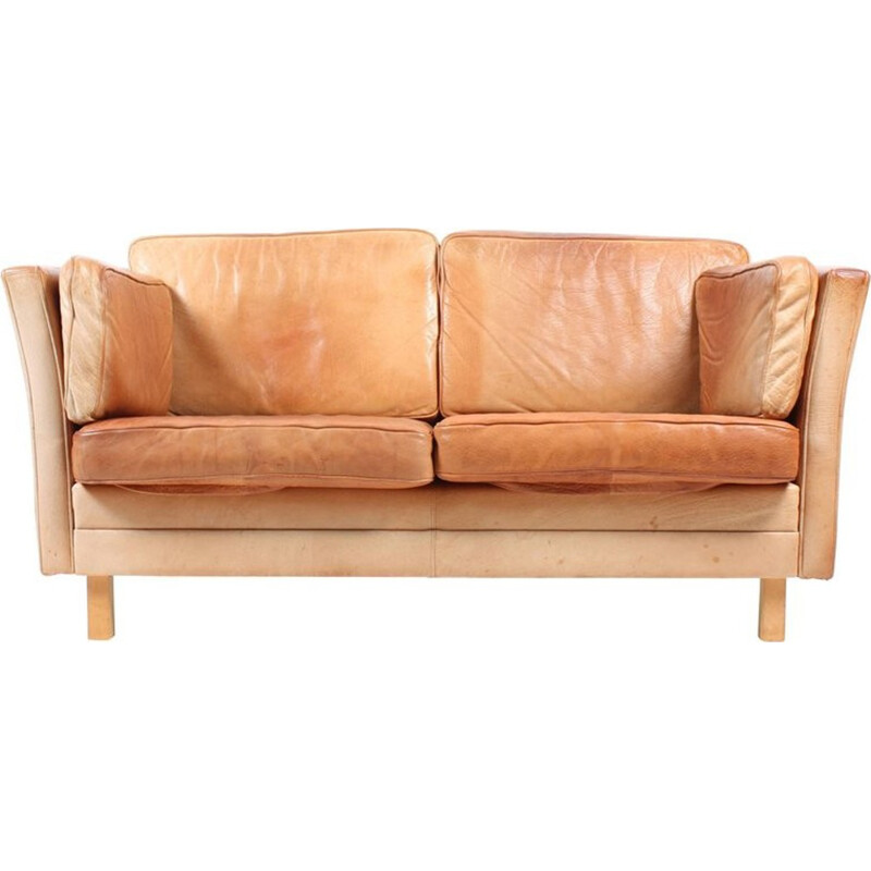 Danish Sofa in Patinated Leather - 1970s