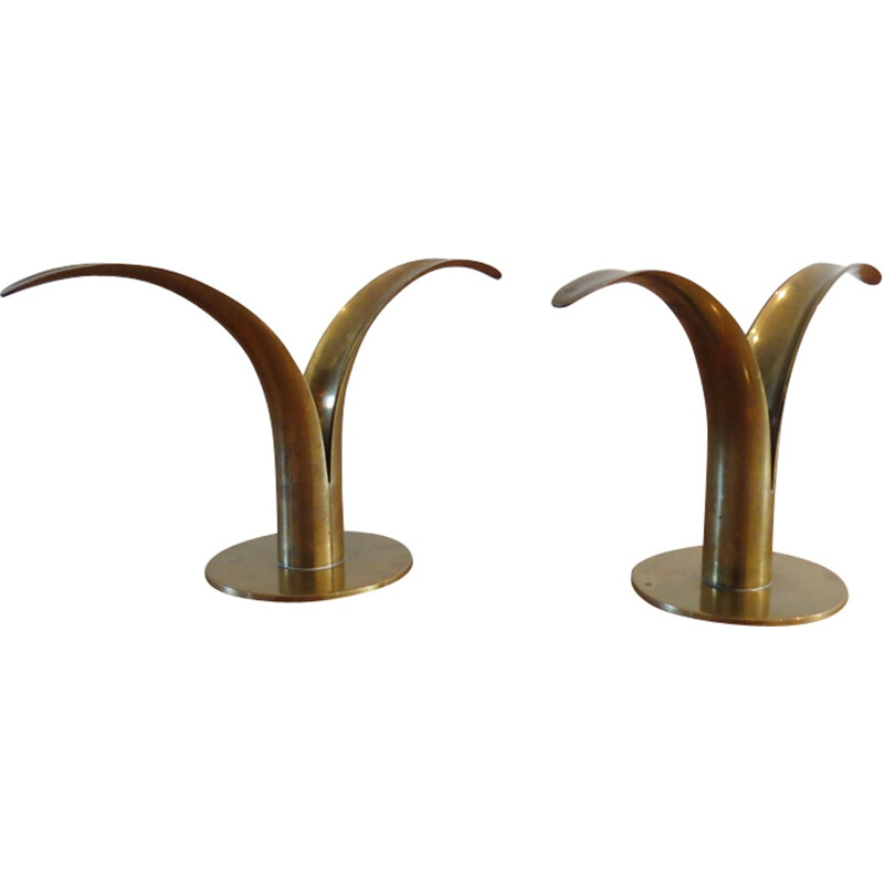 """Pair of """"Lilly"""" candleholders by Ivar Alenius Bjork for Ystad Metall - 1960s"""