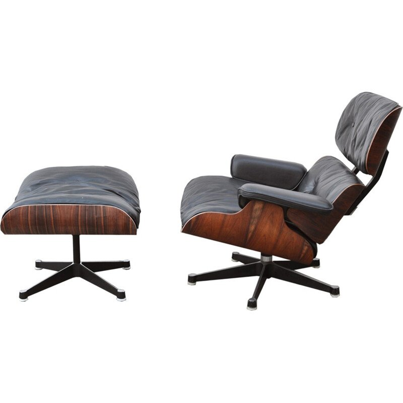 Vintage Lounge Chair & Ottoman by Charles Eames for Vitra - 1980s