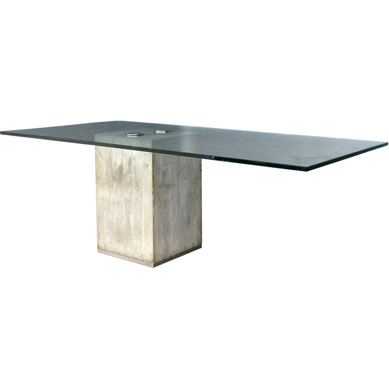 Vintage concrete and glass dinning table by Georgio Saporiti - 1973