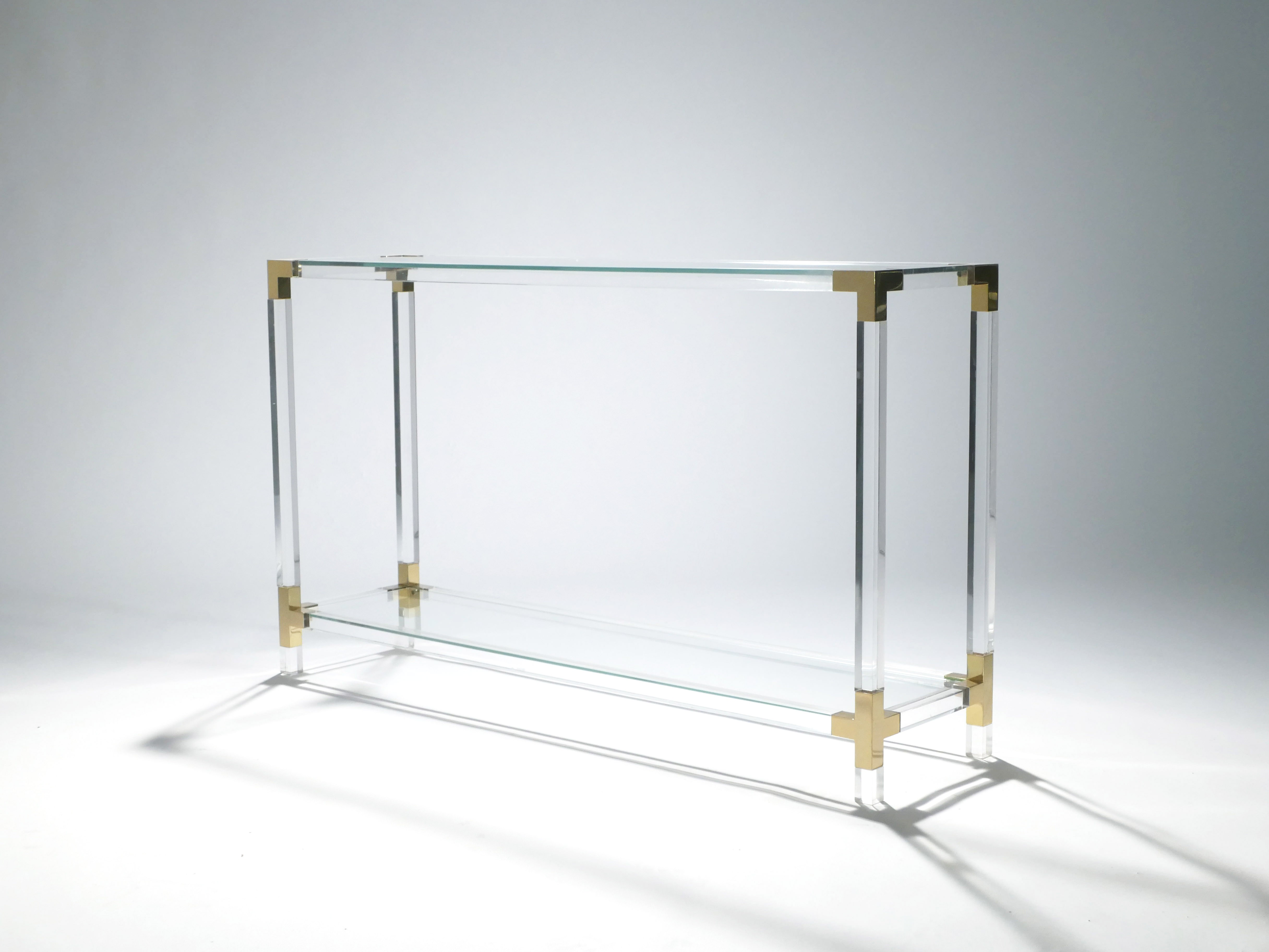 Console in br and plexigl by House Jansen - 1970s - Design Market on