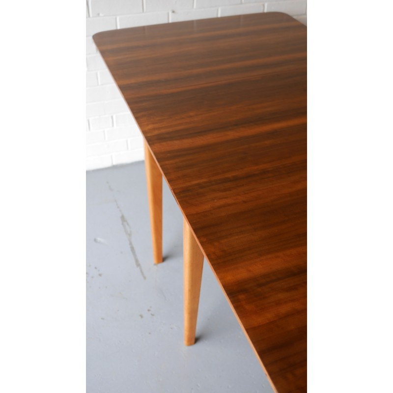 Walnut And Beech Drop Leaf Dining Table 1950s