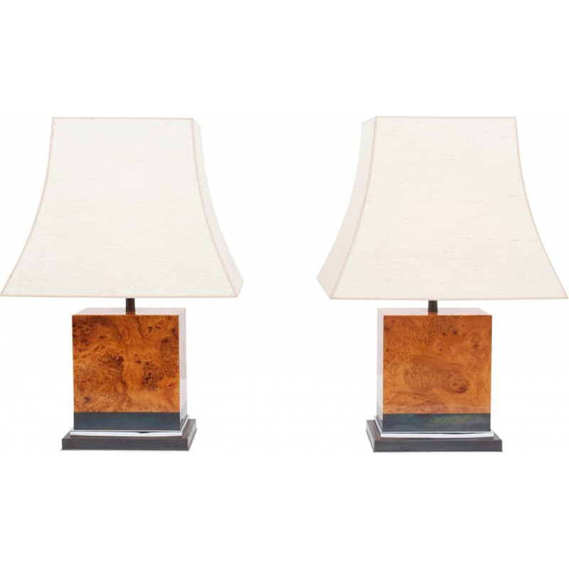 Pair of burl lamps by Jean Claude Mahey - 1970s
