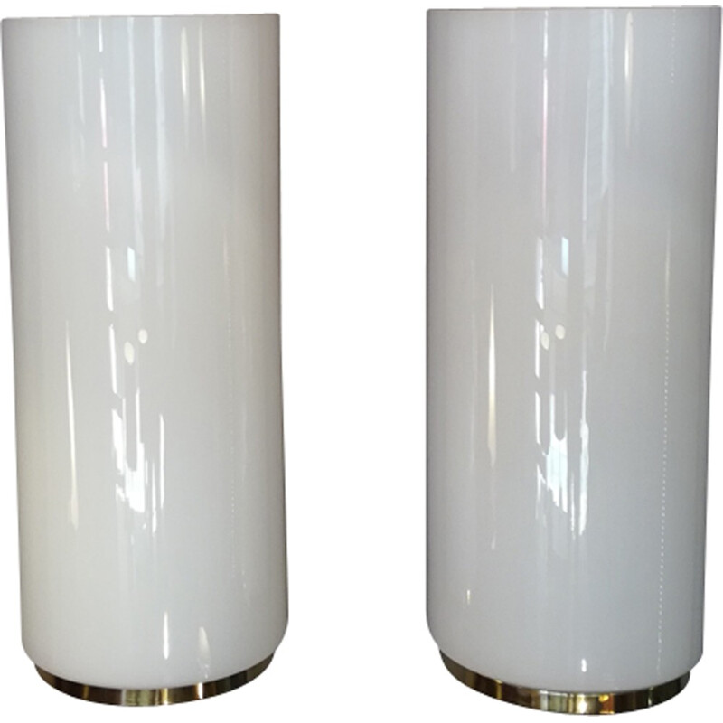 Pair of wall lamps in milky glass by Limburg - 1970s