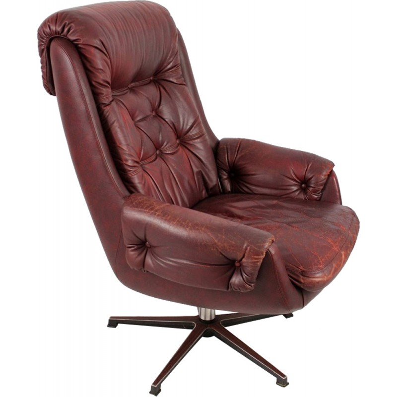 Vintage Leather Armchair From PeeM   1970s