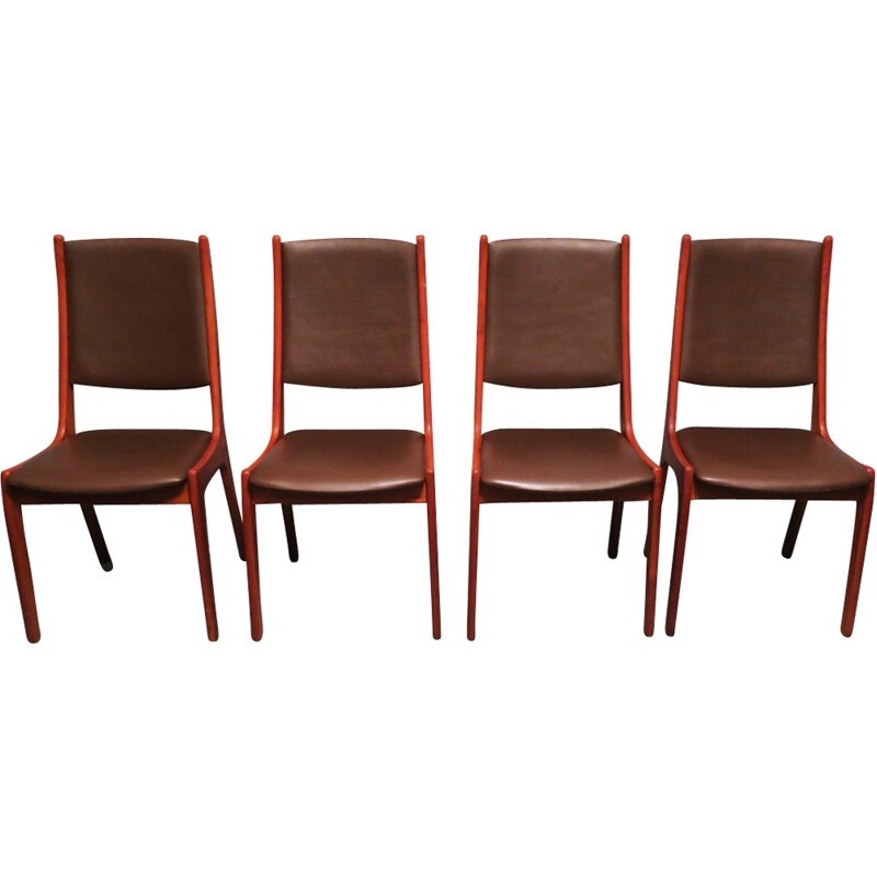 Set of 4 teak and leather dining chairs by Kai Kristiansen for Korup Stolefabrik - 1960s