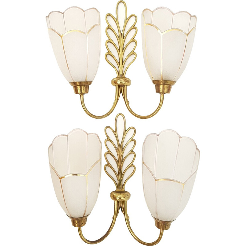 Pair of gilt brass and glass wall lamps - 1950s