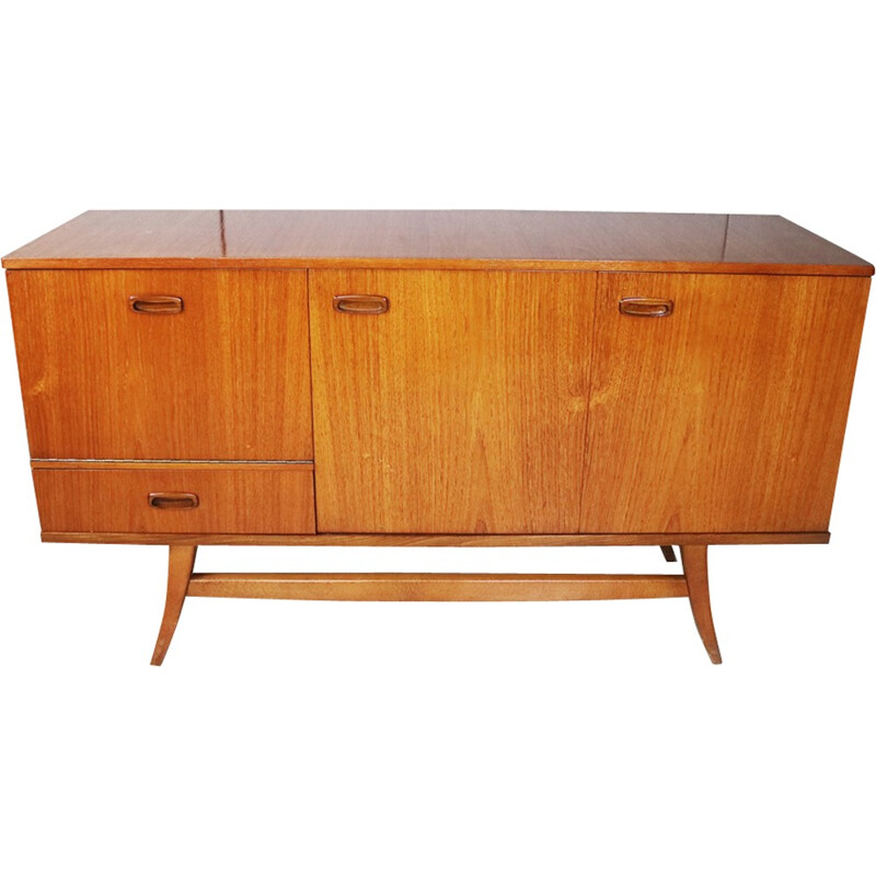 Vintage small British sideboard with fold out doors - 1970s