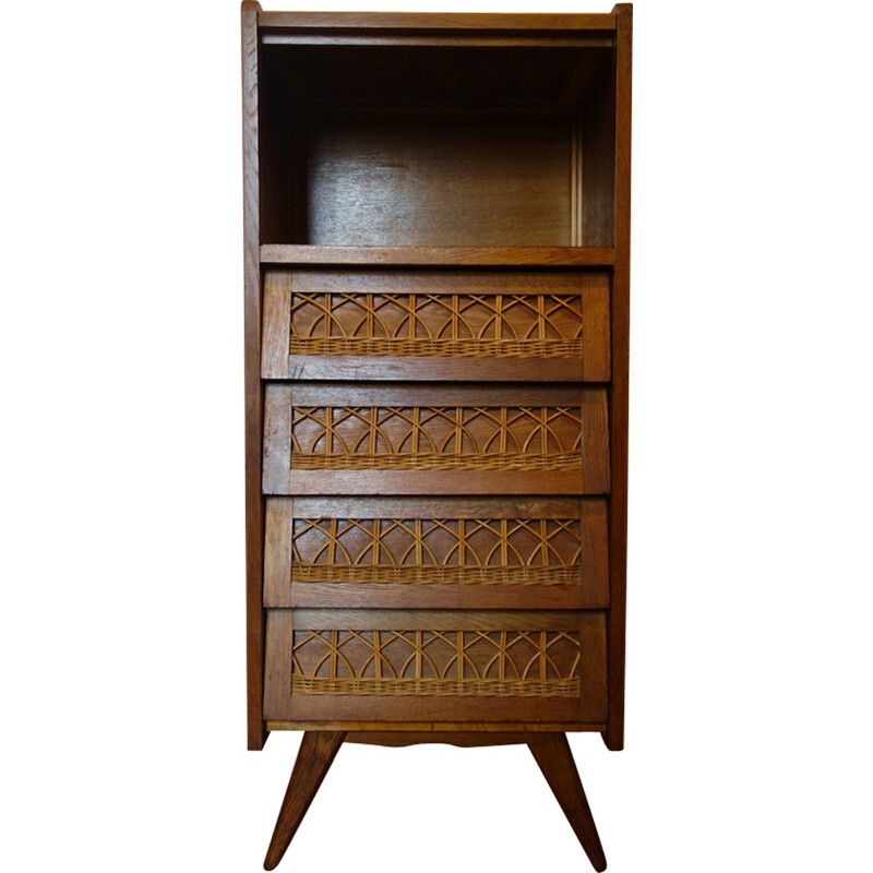 Oak and rattan chest of drawers - 1950s
