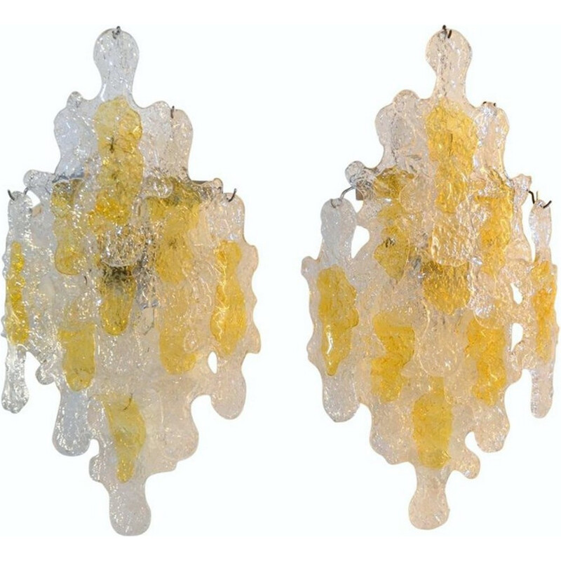 Vintage brutalist wall sconces by Mazzega - 1960s