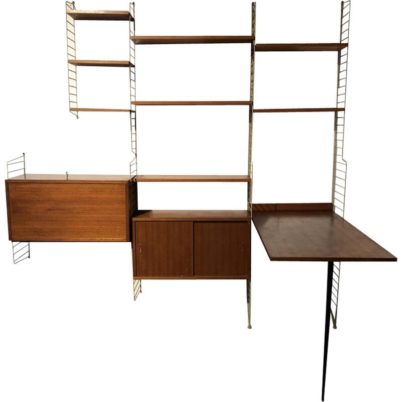 Vintage wall bookcase by Niss Strinning for String - 1950s