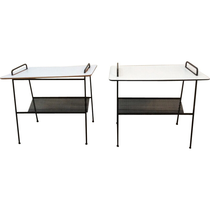 Vintage Pair of Side Tables with Magazine Rack TM04 Model by Cees Braakman for Pastoe - 1950s