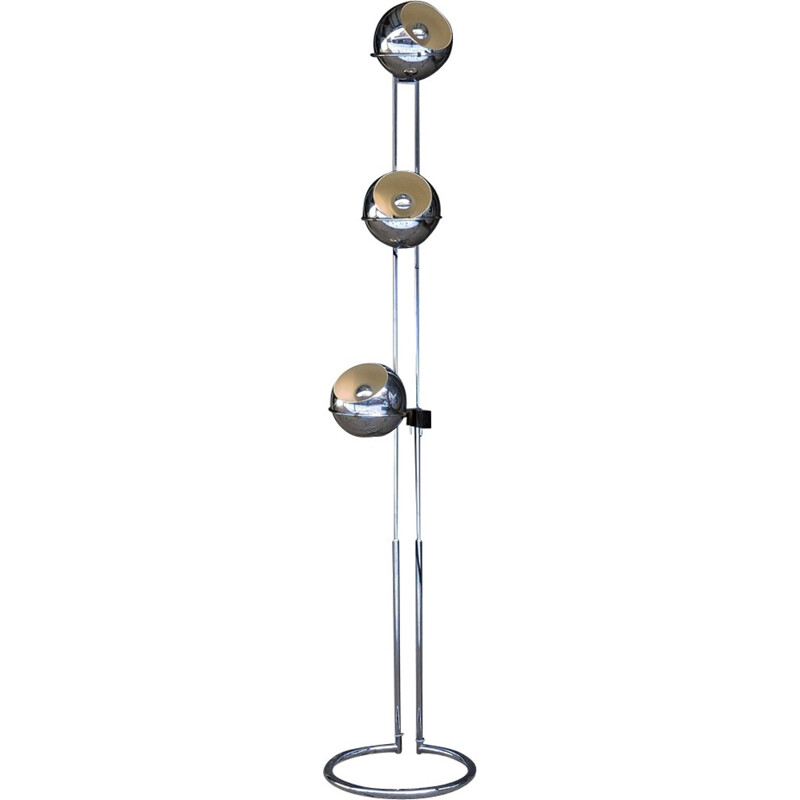 Vintage floor lamp with 3 globes in chromed metal by Goffredo Reggiani - 1970s