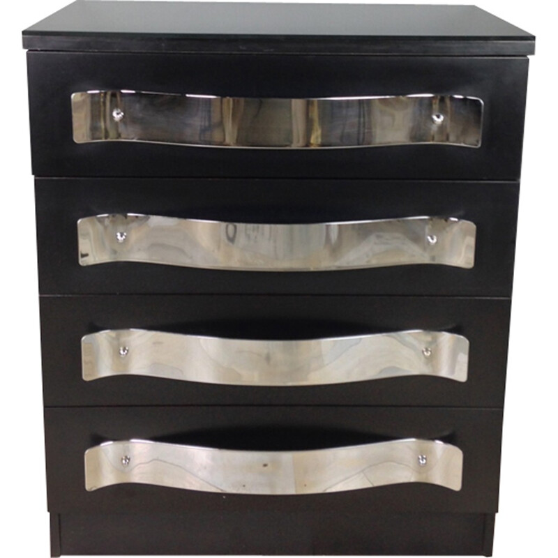 Black dresser with chrome handles and glass top - 1960s