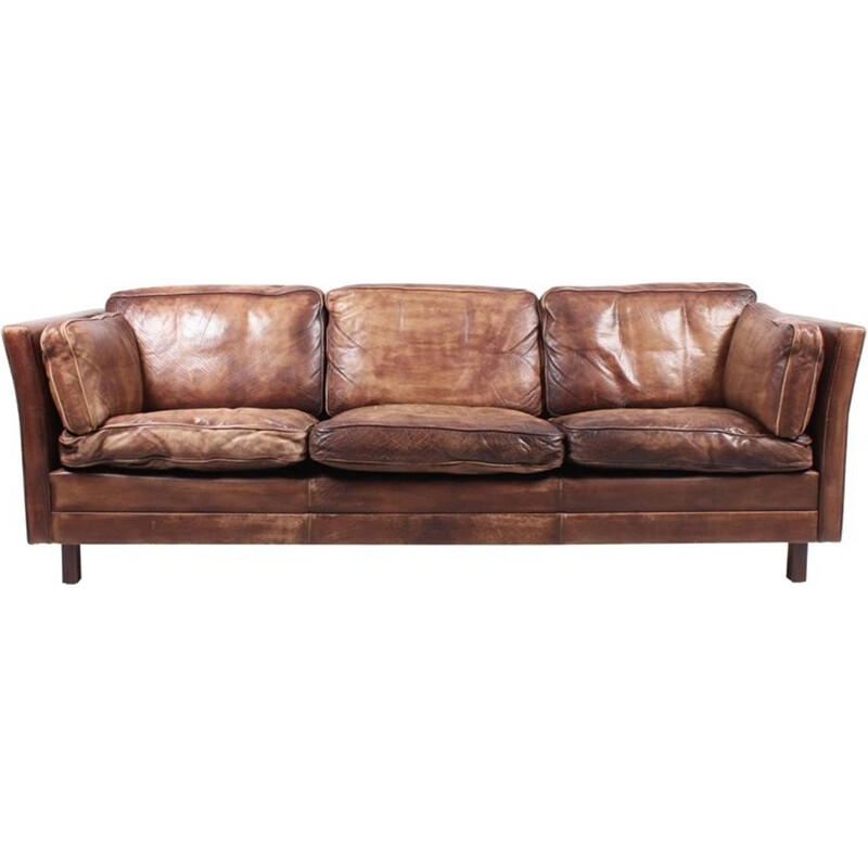 Danish Sofa in Patinated Leather - 1960s