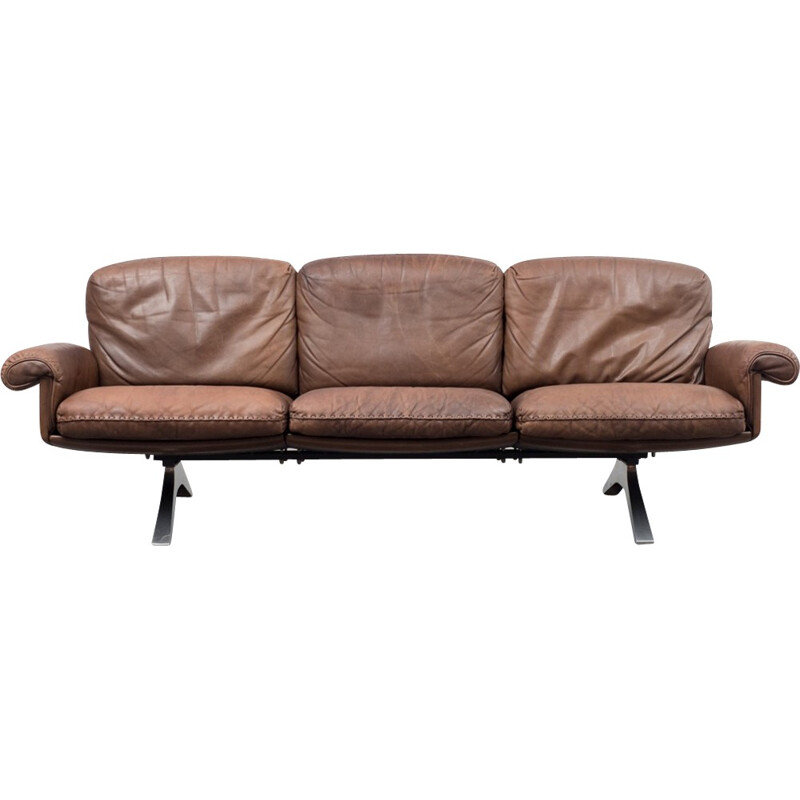 DS 31 sofa in brown leather by De Sede - 1970s